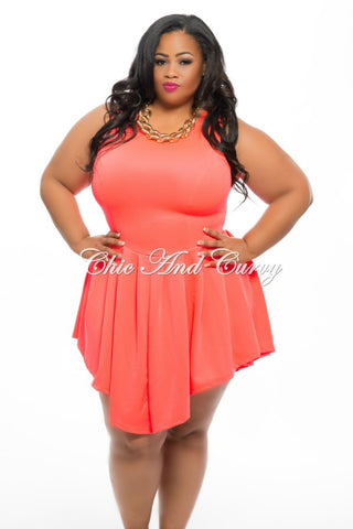 Final Sale Plus Size Sleeveless Skater Dress in Neon Salmon