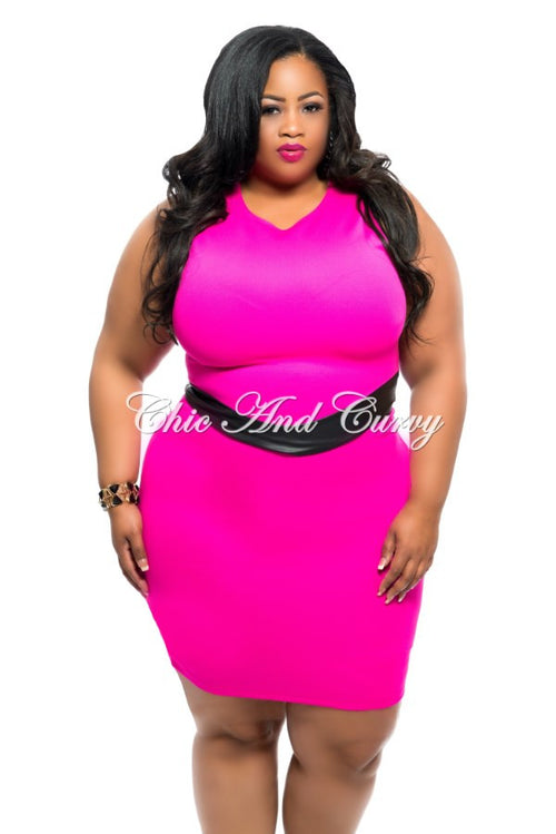35% Off Sale - Final Sale  Plus Size 2-Piece Skirt Set w/ Liquid Waistband in Hot Pink and Black