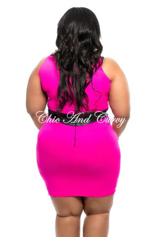 Final Sale Plus Size 2-Piece Skirt Set w/ Liquid Waistband in Hot Pink and Black