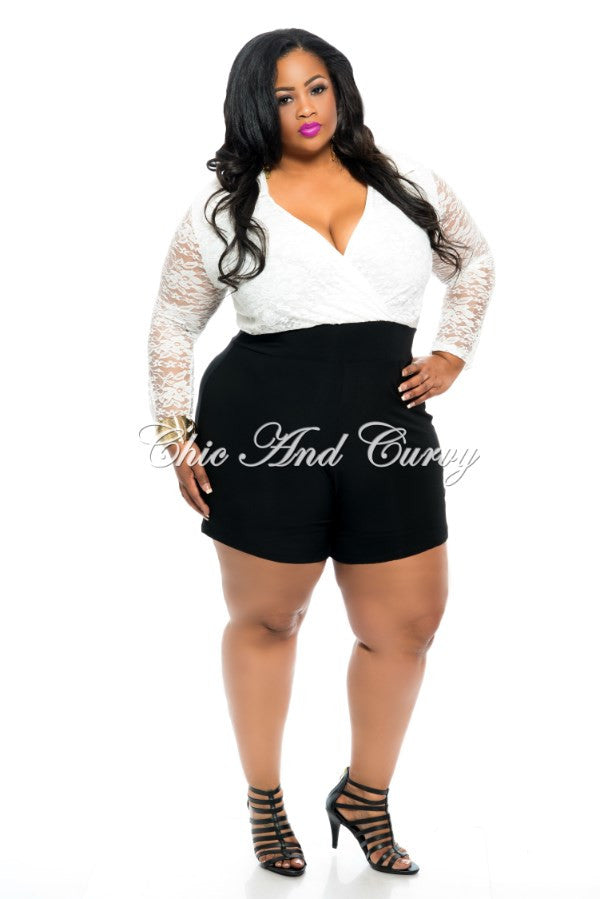 New Plus Size Romper W Lace Top In White W Black Shorts Chic And