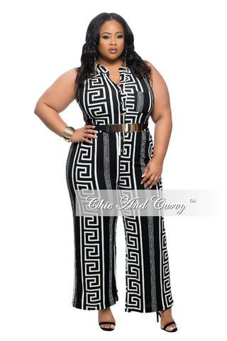 New Plus Size Cropped Jumpsuit with Button Front in Black and White Print