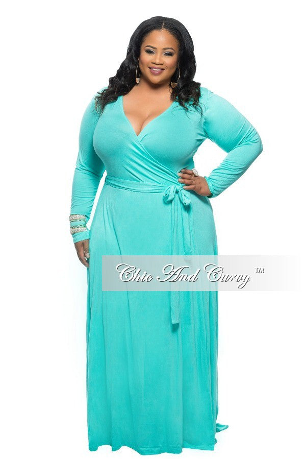 New Plus Size Long Wrap Dress with Tie in Mint