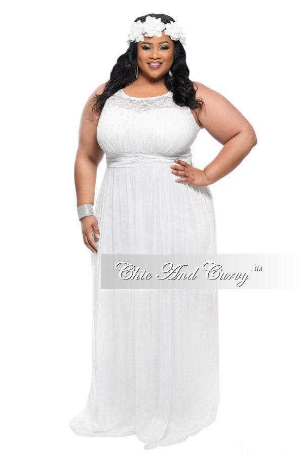 Final Sale Plus Size Sleeveless Long Dress in Ivory – Chic And Curvy