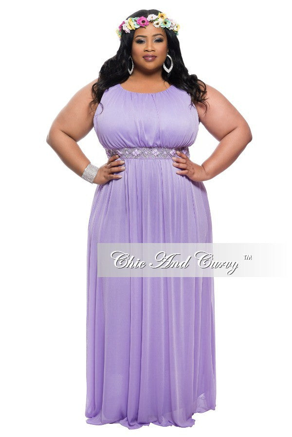 Final Sale Plus Size Sleeveless Long Dress with Jeweled Waistline in  Lavender