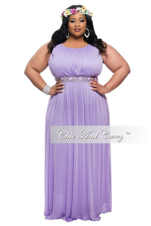 35% Off Final Sale Plus Size Sleeveless Long Dress with Jeweled Waistline in Lavender