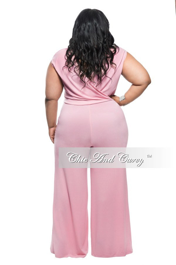 Fnial Sale Plus Size Jumpsuit with Draped Neck and Wide Leg in Rose