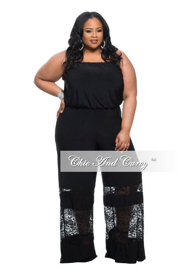New Plus Size Strapless Jumpsuit with Lace Panel Leg in Black