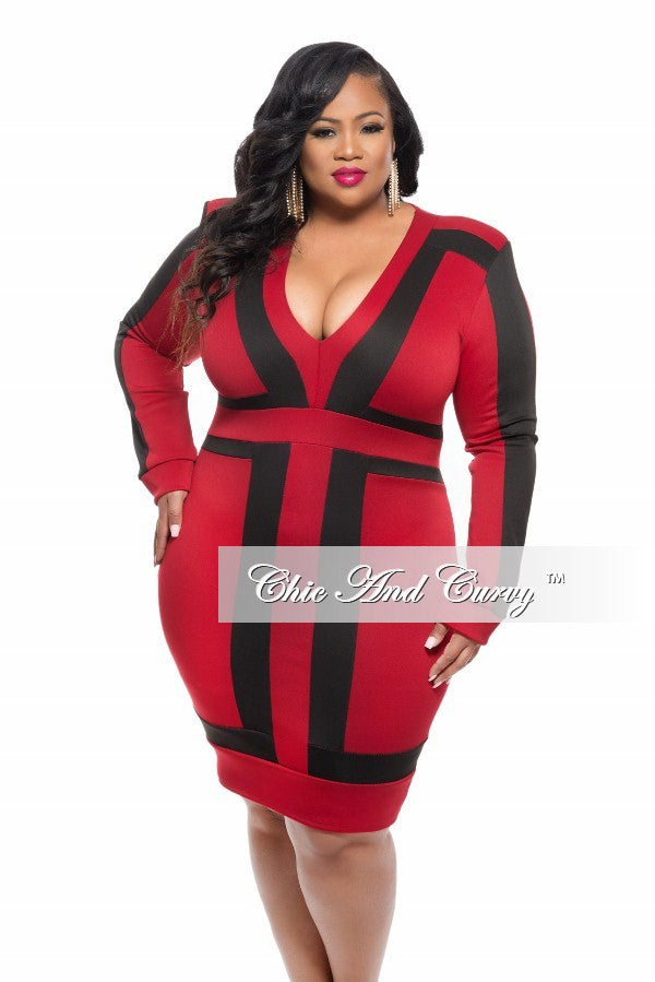 New Plus Size BodyCon Dress with V Neck in Color Block Dark Red and Black