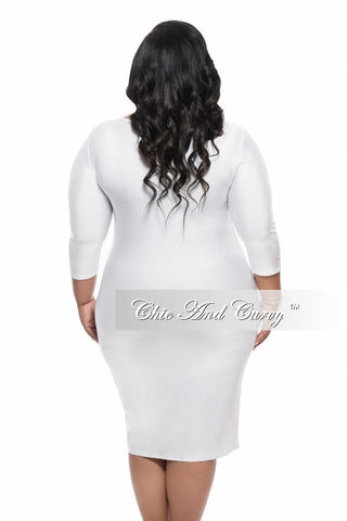 Final Sale Plus Size BodyCon Dress with Round Neck in White