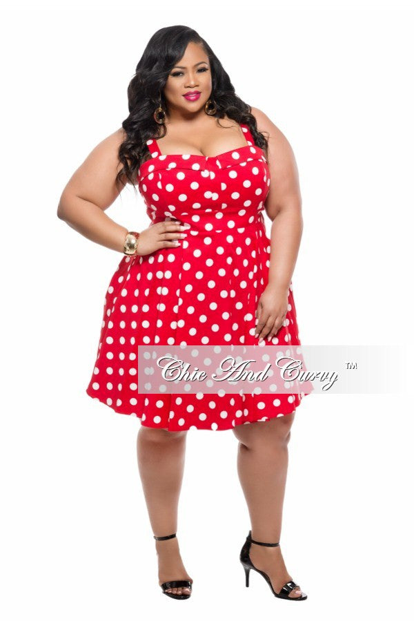 Final Sale Plus Size Sleeveless Skater Dress in Red and White Polka Dot Print