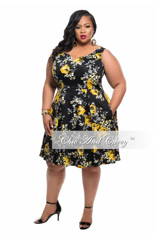 Final Sale Plus Size Sleeveless Skater Dress in Black and Yellow Floral Print