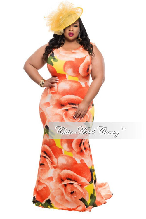 Final Sale Plus Size Floor Length Sleeveless Dress with Large Floral Print - Orange