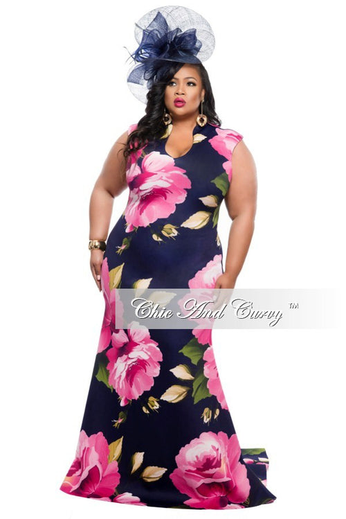 Final Sale Plus Size Floor Length Sleeveless Dress with Large Floral Print - Navy Blue and Pink