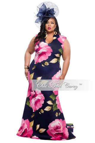New Plus Size Floor Length Sleeveless Dress with Large Floral Print - Navy Blue and Pink