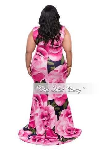 Final Sale Plus Size Floor Length Sleeveless Dress with Large Floral Print - Pink and Blue