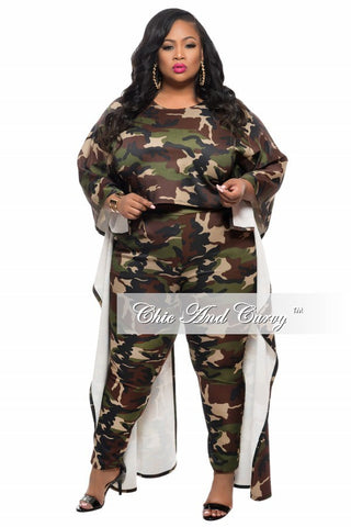 50% Off Sale - Final Sale Plus Size 2-Piece Crop Top with Tail and Pant Set in Camouflage (Camo) Print