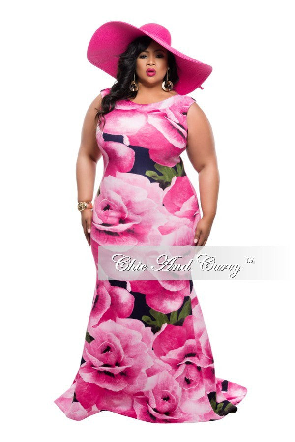 New Plus Size Floor Length Sleeveless Dress with Large Floral Print - Pink and Blue
