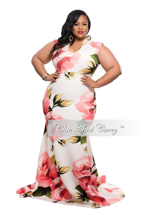 Final Sale Plus Size Floor Length Sleeveless Dress with Large Floral Print - Ivory and Peach