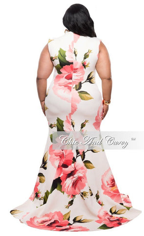 New Plus Size Floor Length Sleeveless Dress with Large Floral Print - Ivory and Peach