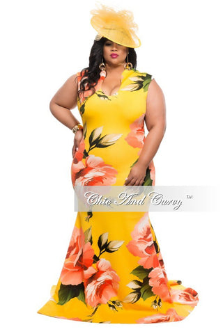 New Plus Size Floor Length Sleeveless Dress with Large Floral Print - Yellow and Orange