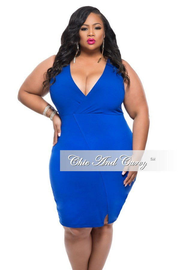 New Plus Size Sleeveless BodyCon Dress with V Neck in Royal Blue