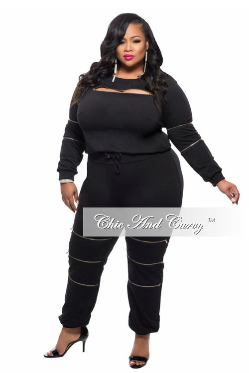 Final Sale  Plus Size 2-Piece Top and Pant Set with Zipper Details in Black