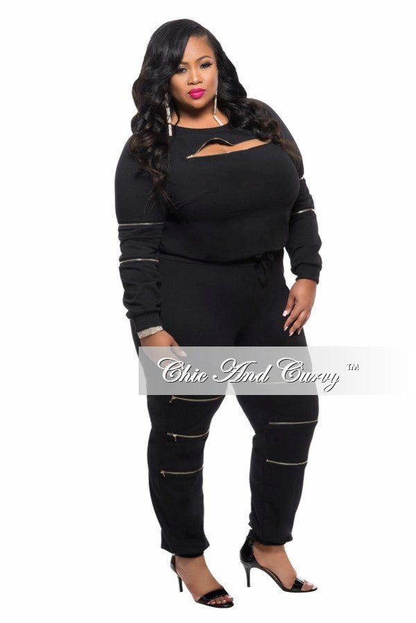 New Plus Size 2-Piece Top and Pant Set with Zipper Details in Black