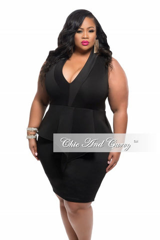 Final Sale Plus Size BodyCon Dress with V Neck and Peplum Fringe - Sleeveless in Black