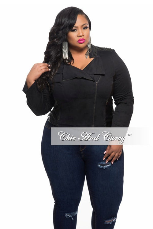 Final Sale Plus Size Jacket with Lace Up Back in Black