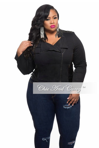 New Plus Size Jacket with Lace Up Back in Black