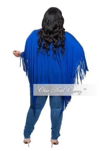 New Plus Plus Size Flowing Top with Shredded Ends in Royal Blue