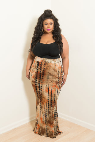 Final Sale Plus Size Long Skirt in Black and Gold with Ivory Lace Trim