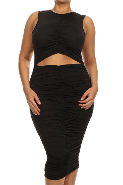 New Plus Size BodyCon with Center Cutout - Sleeveless Black