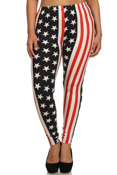 Final Sale Plus Size Leggings w/ Stars and Stripes Print One Size Fits Most (Seasonal Item Final Sale)