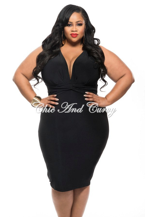 New Plus Size BodyCon Dress with Deep V Neck and Twisted Waistline in Black