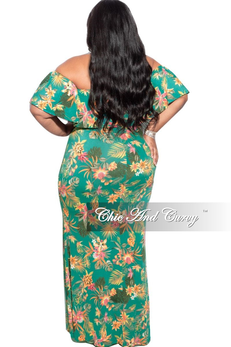 New Plus Size Maxi Dress with Ruffle Top in Teal Green Floral Print