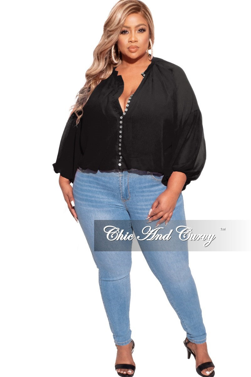 Final Sale Plus Size Cropped Button Up Balloon Top in Black