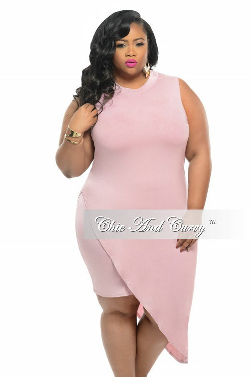 08b0f830b72 Final Sale Plus Size BodyCon Sleeveless Dress with Slanted Overlay in Rose