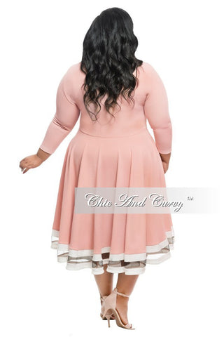 New Plus Size Dress in Light Rose with White Trim