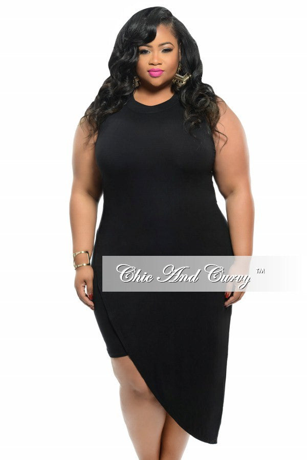 New Plus Size BodyCon Sleeveless Dress with Slanted Overlay in Black