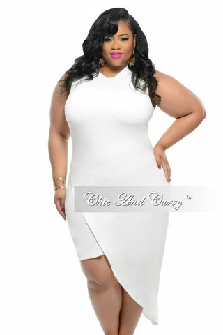 Final Sale Plus Size BodyCon Sleeveless Dress with Slanted Overlay in Cream