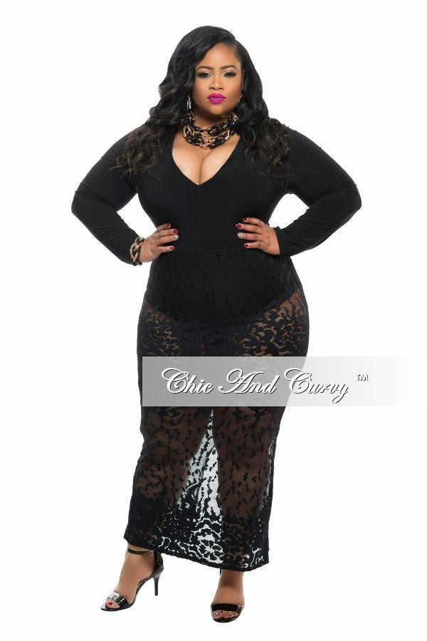 Final Sale Plus Size Dress with V-Neck Leotard and Mesh Design Attached Skirt in Black