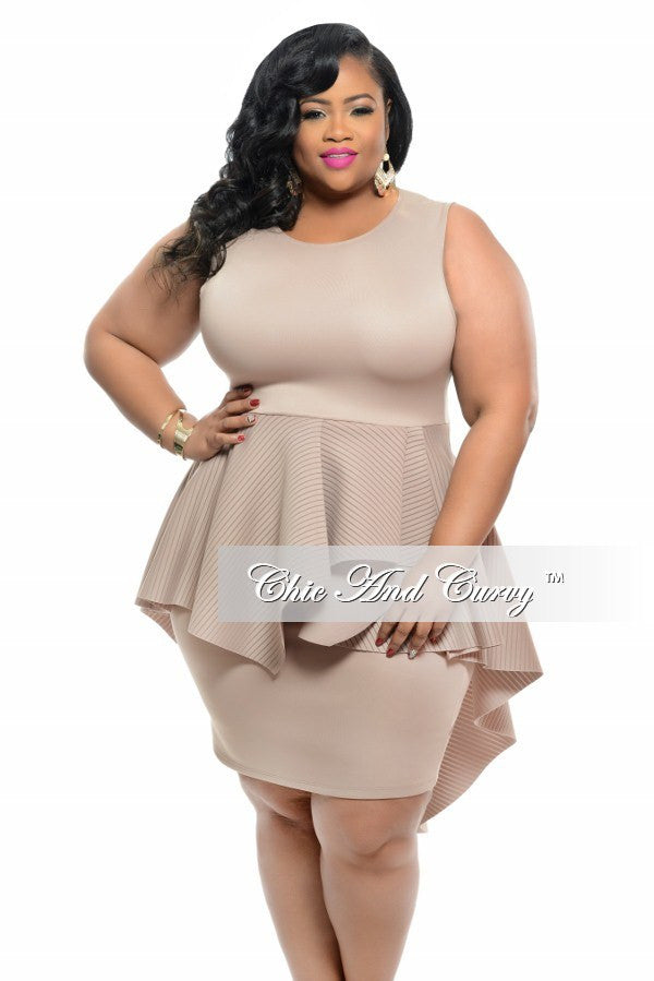 New Plus Size BodyCon Sleeveless Dress with Peplum Tail in Cappuccino with Gold Zipper
