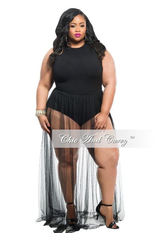 Final Sale Plus Size 2-Piece Set Tank Top and Sheer Skirt with Slit in Black