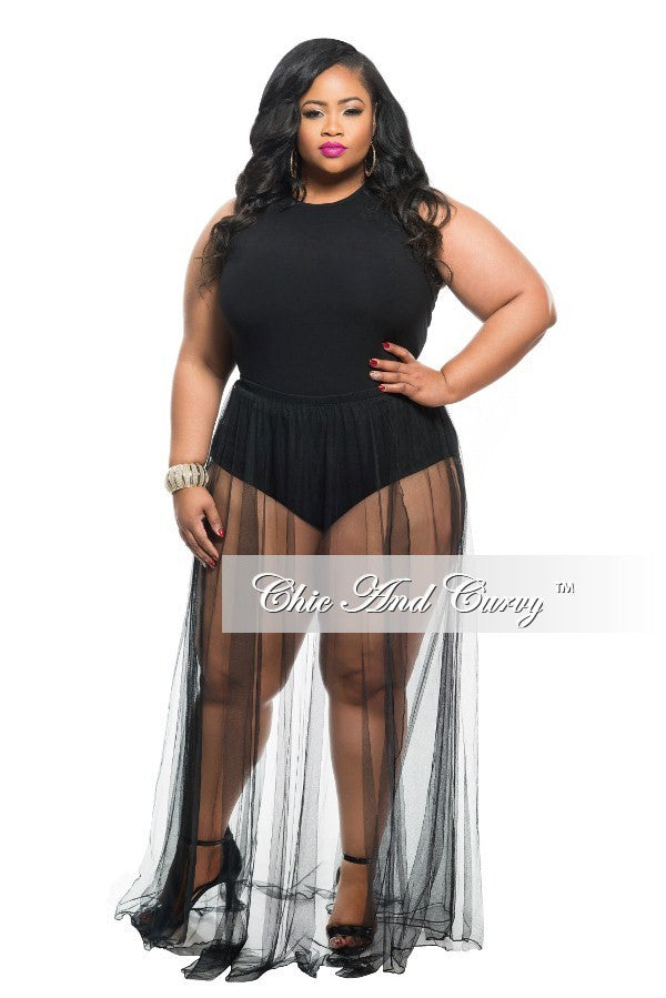 Final Sale Plus Size 2-Piece Set Tank Top and Sheer Skirt with Slit ...