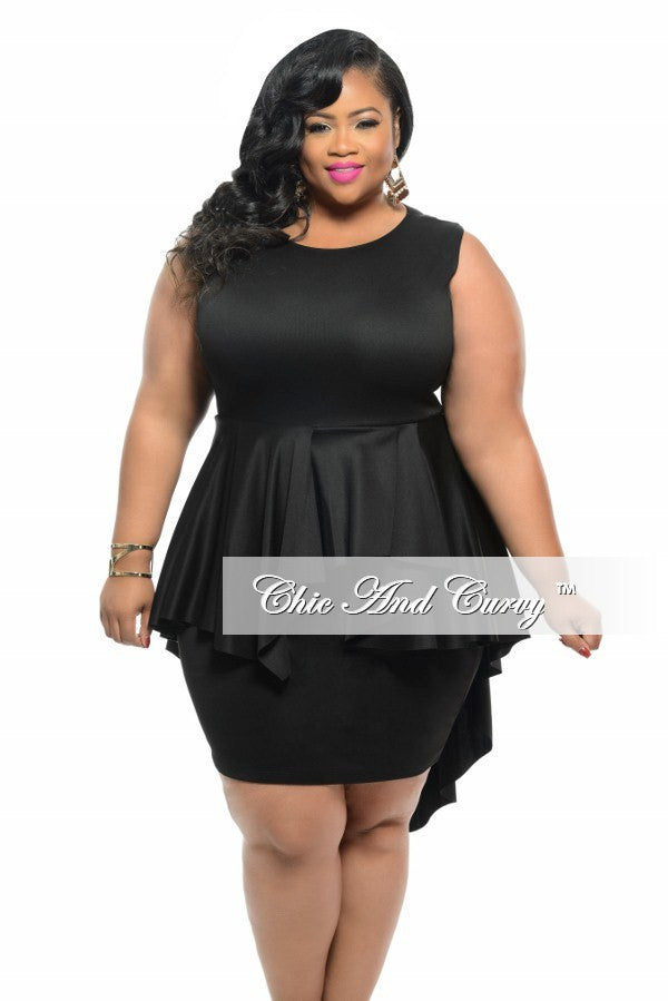Final Sale Plus Size BodyCon Sleeveless Dress with Peplum Tail in Black  with Silver Zipper