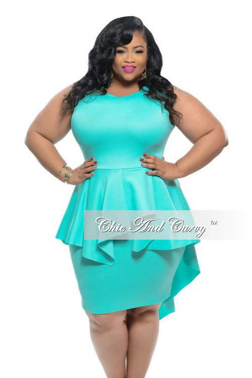 50% Off Sale - Final Sale Plus Size BodyCon Sleeveless Dress with Peplum Tail in Mint with Silver Zipper