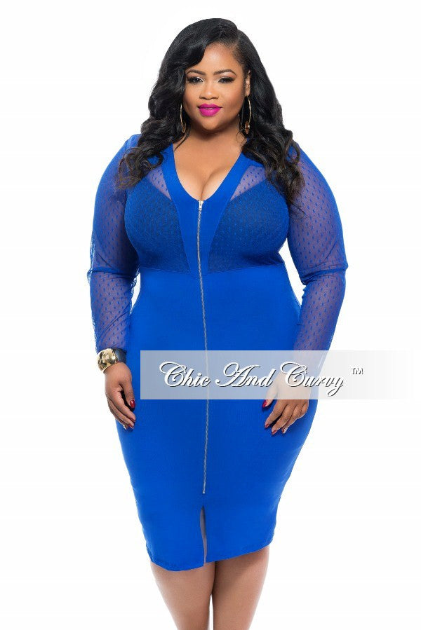 New Plus Size BodyCon Dress with Sheer Top and Zipper Front in Royal Blue
