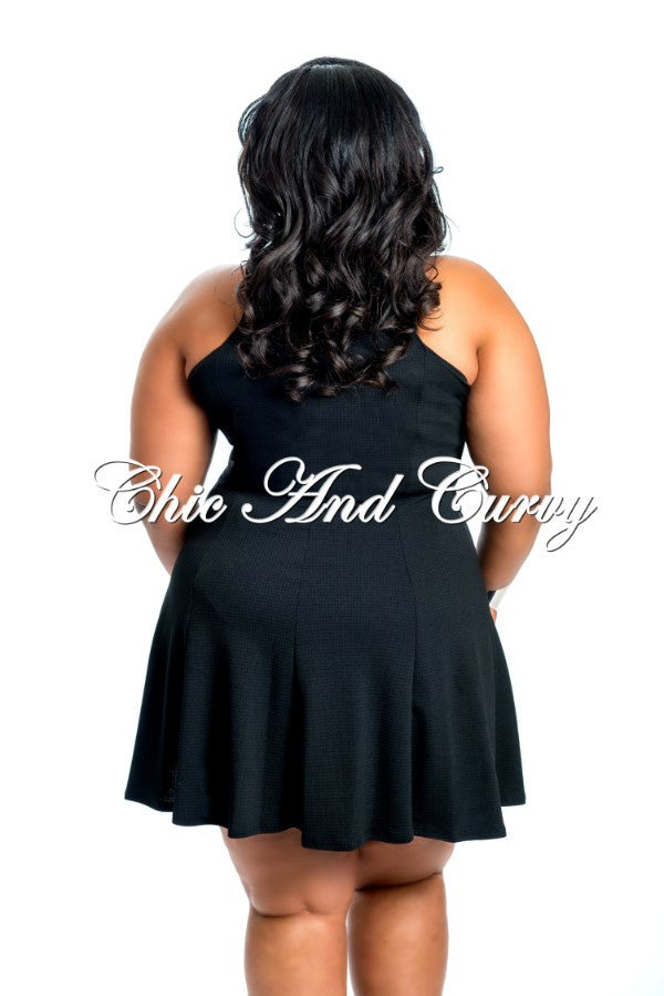Final Sale Plus Size Skater Dress with Zipper Front in Black