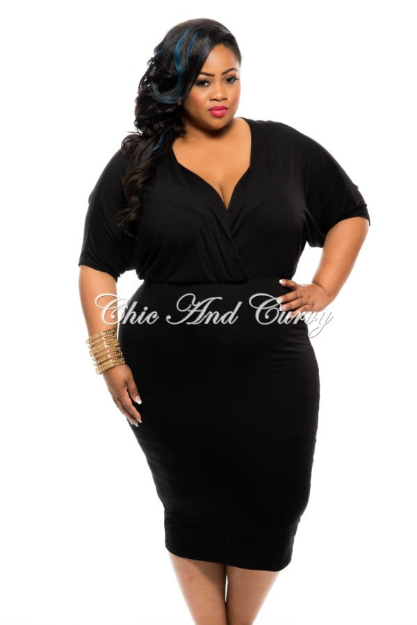 New Plus Size Dress with Kimono Sleeves and Faux Wrap Top in Black ...